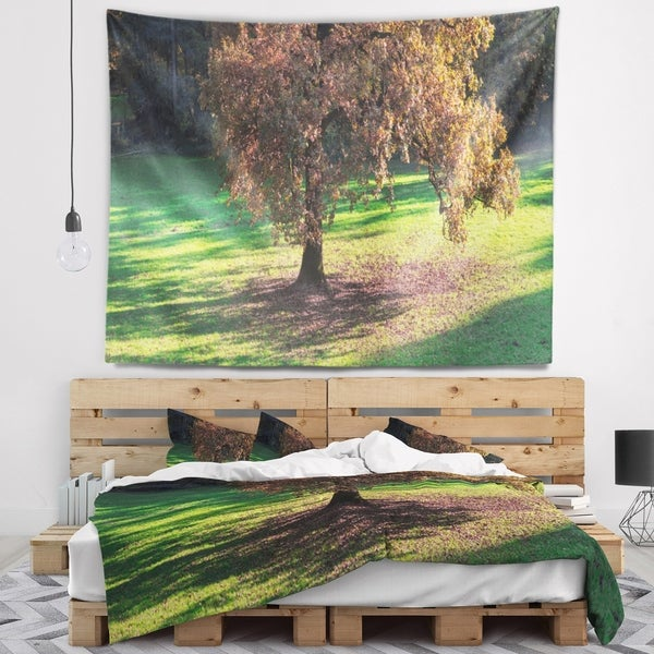 Designart 'Lonely Beautiful Autumn Tree' Landscape Wall Tapestry