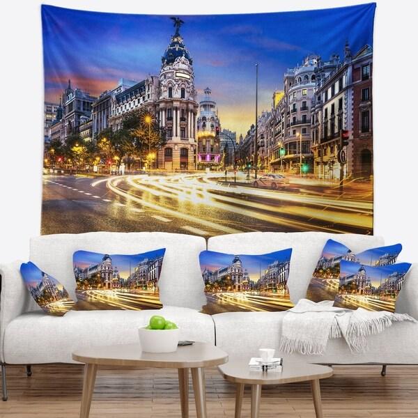 Designart 'Madrid City Center' Cityscape Photography Wall Tapestry