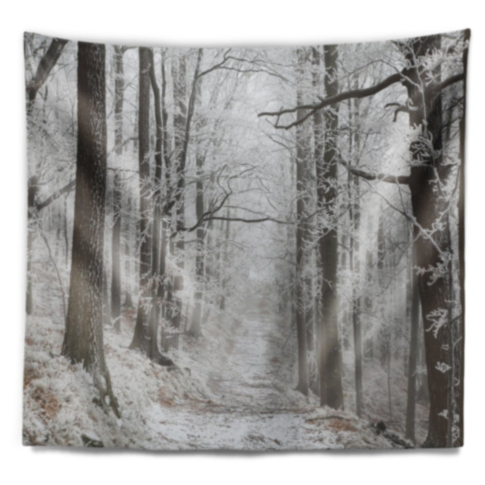 Designart Forest Trail On Winter Morning Forest Wall Tapestry On Sale Overstock 20929255