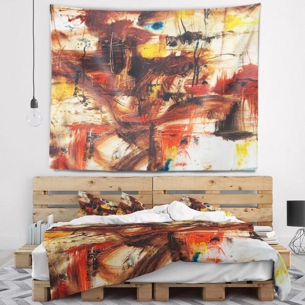 Designart 'Watercolor Red and Yellow Spots' Abstract Wall Tapestry