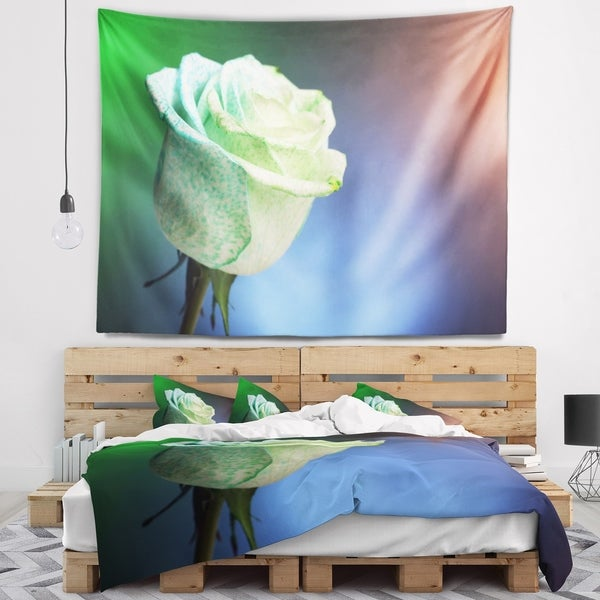 Designart 'Beautiful White Painted Rose' Floral Wall Tapestry