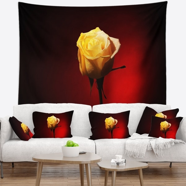 Designart 'Beautiful Yellow Colored Rose' Floral Wall Tapestry