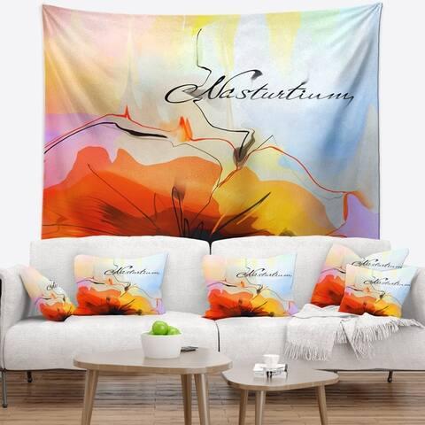 Designart 'Watercolor Nasturtium Flower' Floral Wall Tapestry
