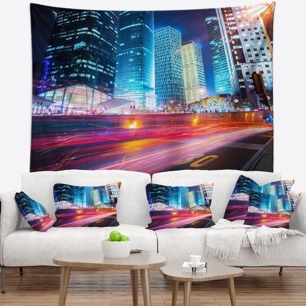 Designart 'Modern City Night Scene' Cityscape Photo Wall Tapestry