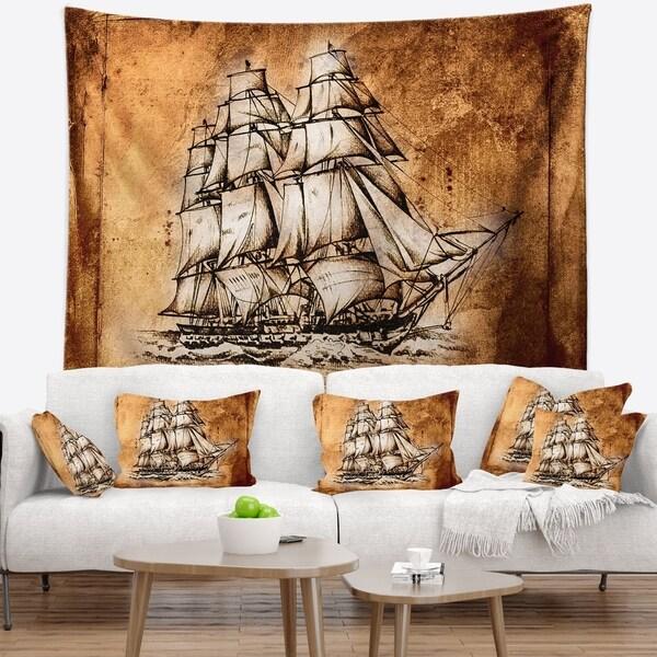 Designart 'Ancient Sailboat Drawing' Seashore Wall Wall Tapestry