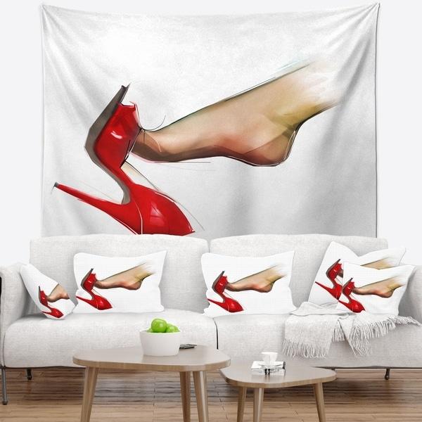 Designart 'Leg Wearing High Heel Shoe' Portrait Wall Tapestry