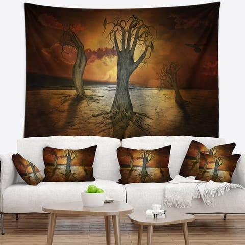 Designart 'Storage Trees' Abstract Wall Tapestry