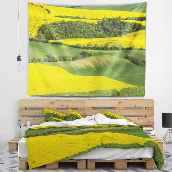 Designart 'Rapeseed Fields and Green Wheat' Landscape Wall Tapestry