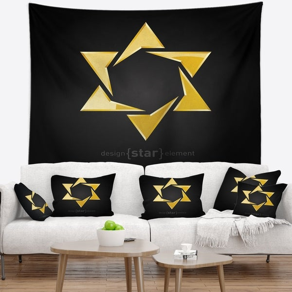 Designart 'Luxury Golden Star' Abstract Wall Tapestry