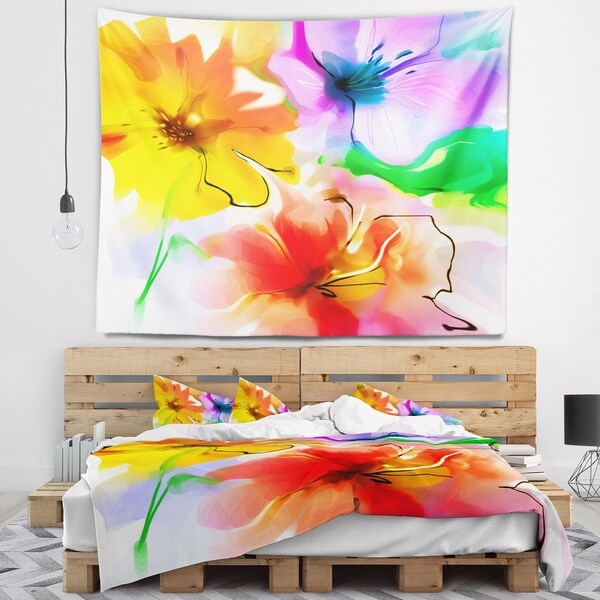Designart 'Bunch of Colorful Flowers Sketch' Floral Wall Tapestry