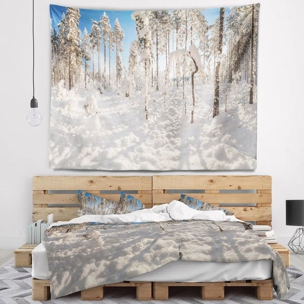 Designart 'Winter Snow Covered Wood' Landscape Wall Tapestry