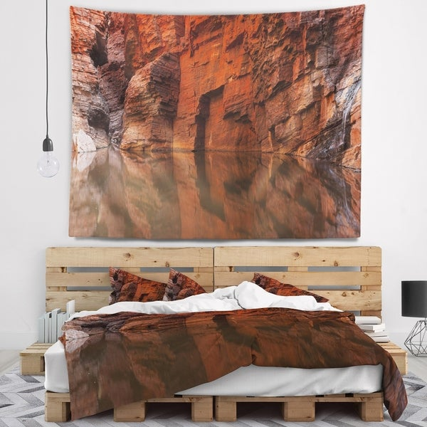 Designart 'Rock Wall Reflections in Gorge' Landscape Wall Tapestry