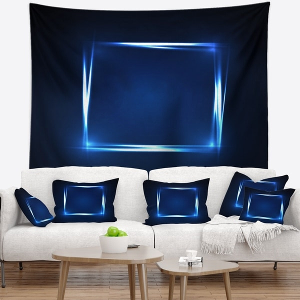 Designart 'Neon Shape Blue' Abstract Wall Tapestry