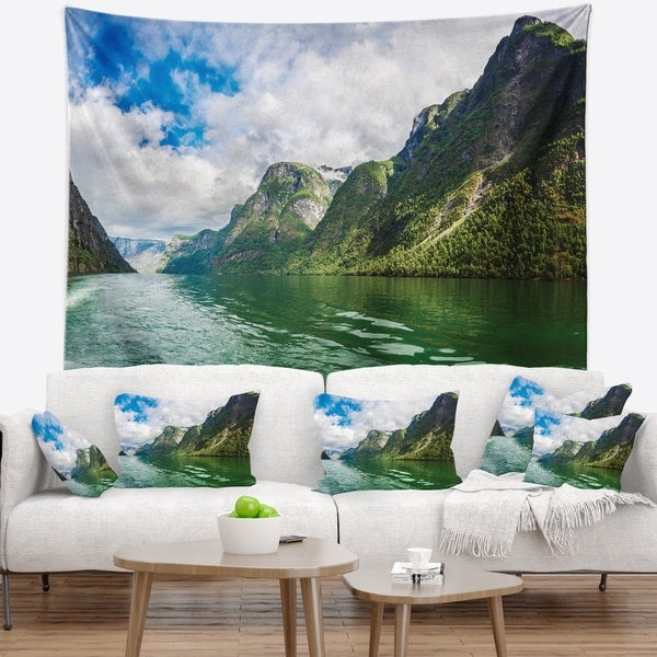 Designart 'Green Lake Sognefjord Norway' Landscape Wall Tapestry