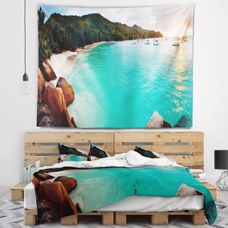 Designart 'Tropical Beach with Blue Waters' Seascape Wall Tapestry