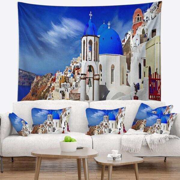 Designart 'Oia Village Greece Panorama' Landscape Wall Tapestry