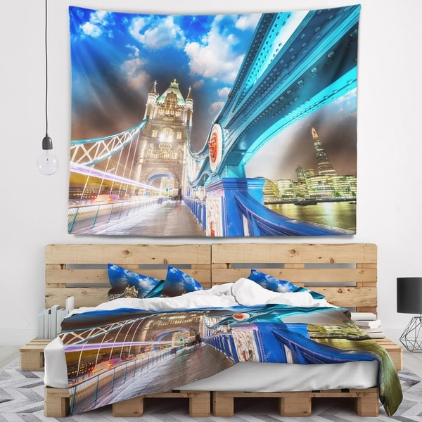 Designart 'Night over Tower Bridge in London' Cityscape Photo Wall Tapestry