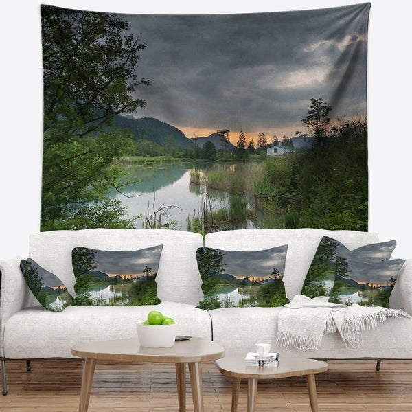 Designart 'Stormy Weather Over Swamp' Landscape Wall Tapestry