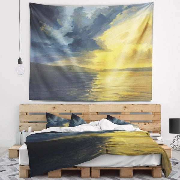 Designart 'Sunset of Light and Shadows' Landscape Painting Wall Tapestry