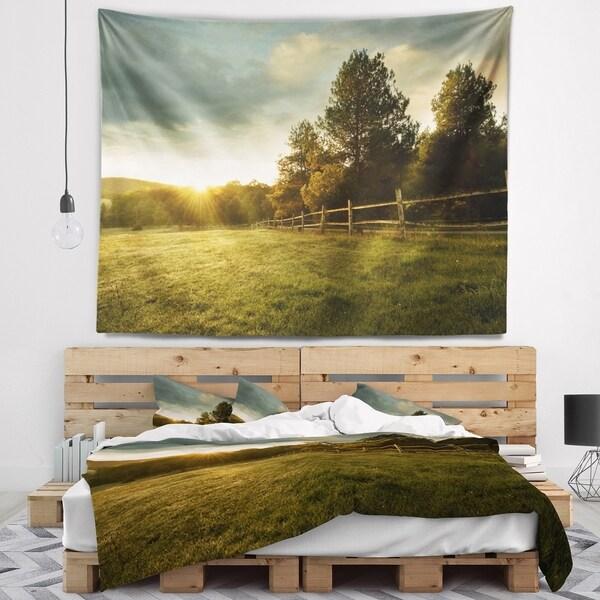 Designart 'Beautiful Sunrise in the farm' Landscape Wall Tapestry