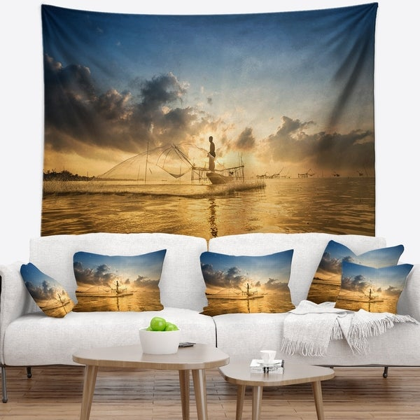 Designart 'Pakpra with Fisherman at Sunrise' Landscape Wall Tapestry