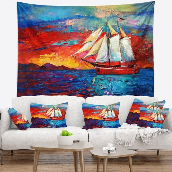 Designart 'Sail Ship During Sunset' Seascape Wall Tapestry