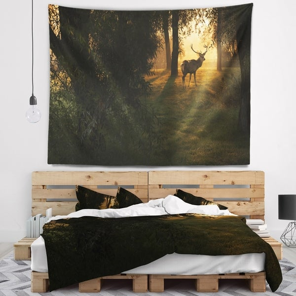 Designart 'Deer In Sunset In Deep Forest' Forest Wall Tapestry