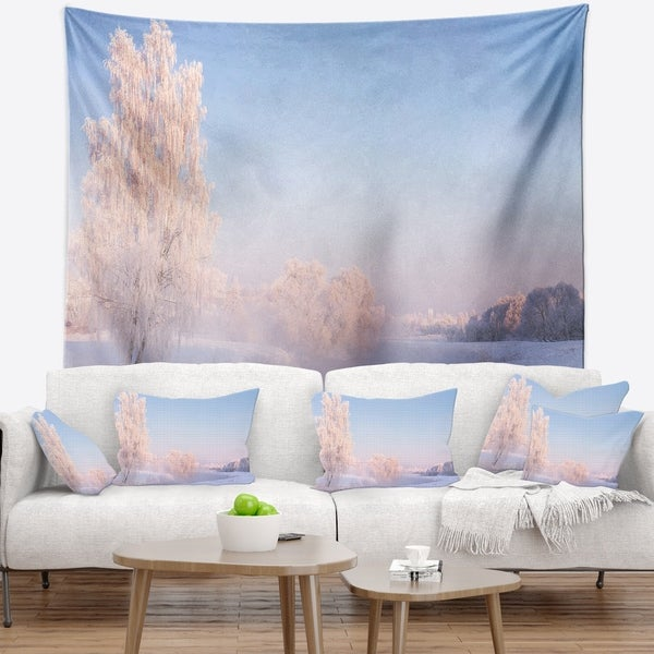 Designart 'White Crystal Tree and Landscape' Landscape Wall Tapestry