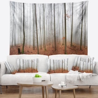 Designart 'Fall Forest with Trees at Mist' Oversized Forest Wall Tapestry