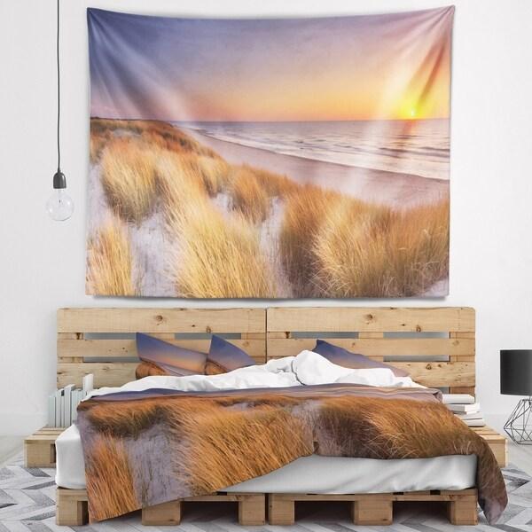 Designart 'Sunset on Texel Island Beach' Modern Seashore Wall Tapestry