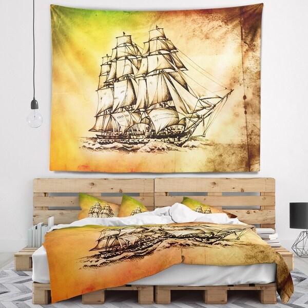 Designart 'Large Ancient Moving Boat' Seashore Wall Wall Tapestry
