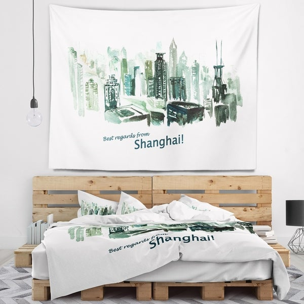 Designart 'Shanghai Vector Illustration' Cityscape Painting Wall Tapestry