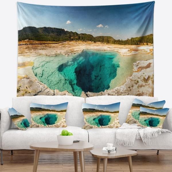 Designart 'Yellow Stone Pool Panorama' Landscape Wall Tapestry