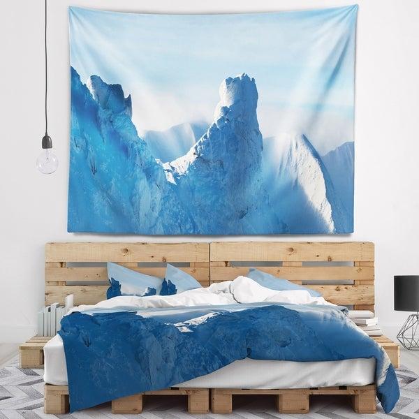Designart 'Blue Winter Hills Panorama' Landscape Wall Tapestry