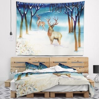 Designart 'Amazing Winter Forest with Deer' Landscape Wall Tapestry