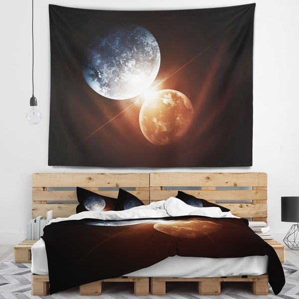 Designart 'Kiss Between Two Planets' Spacescape Wall Tapestry