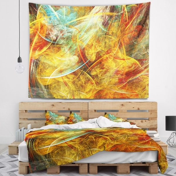 Designart 'Yellow Swirling Clouds' Abstract Wall Tapestry
