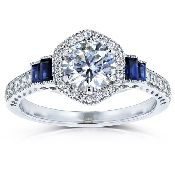 Annello by Kobelli 14k White Gold 1 1/2ct TGW Moissanite Sapphire and Diamond 6-prong Halo Art Deco Ring. Opens flyout.