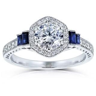Annello by Kobelli 14k White Gold 1 1/2ct TGW Diamond and Sapphire 6-prong Halo Art Deco Ring