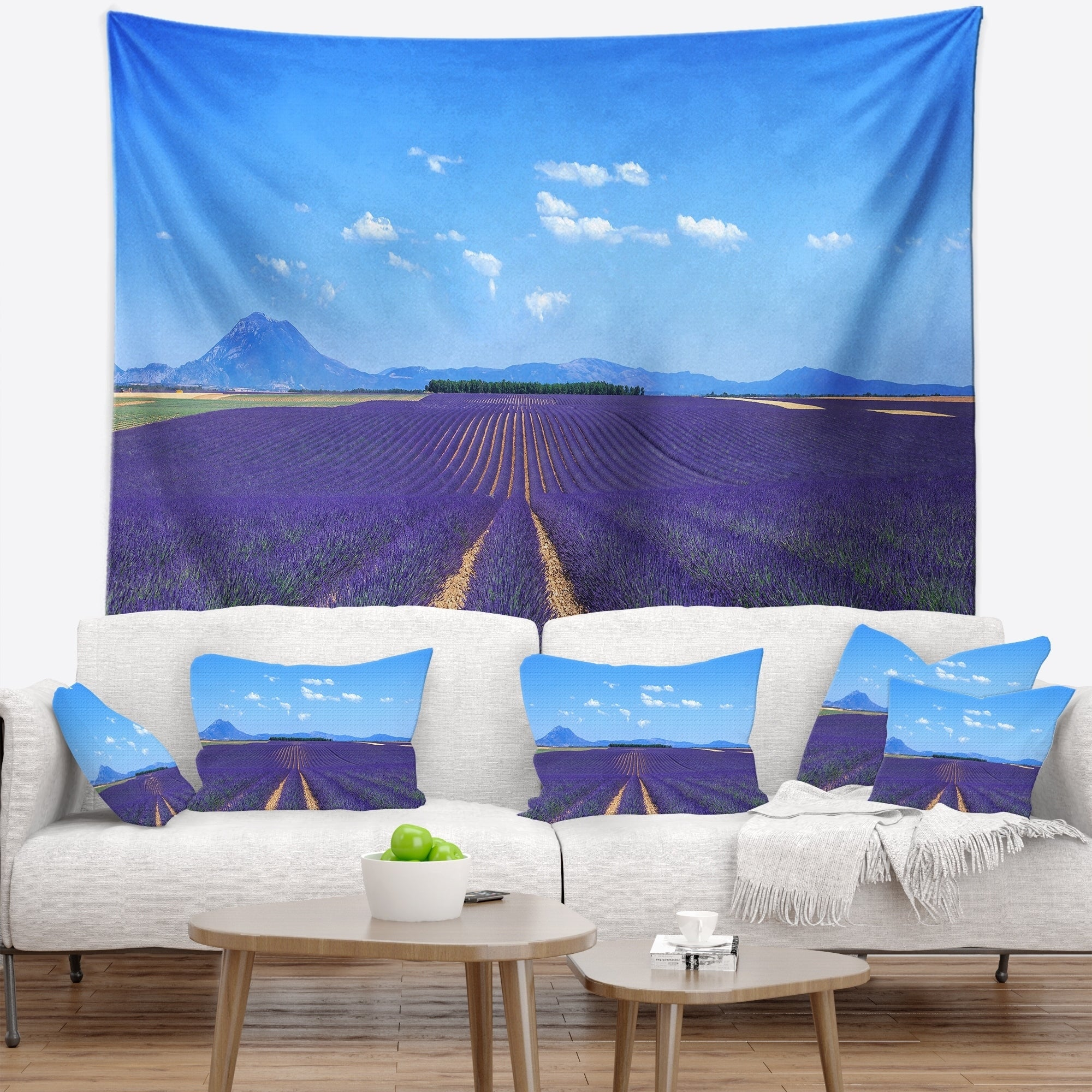 Designart Lavender Blooming Fields And Trees Landscape Small Ebay