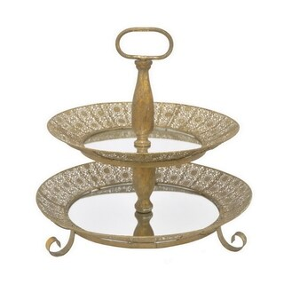Three Hands Pierced Tray Stand- Gold