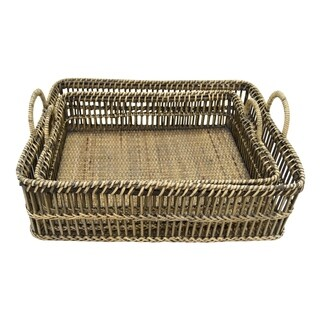 Three Hands Set Of Two Rattan Trays