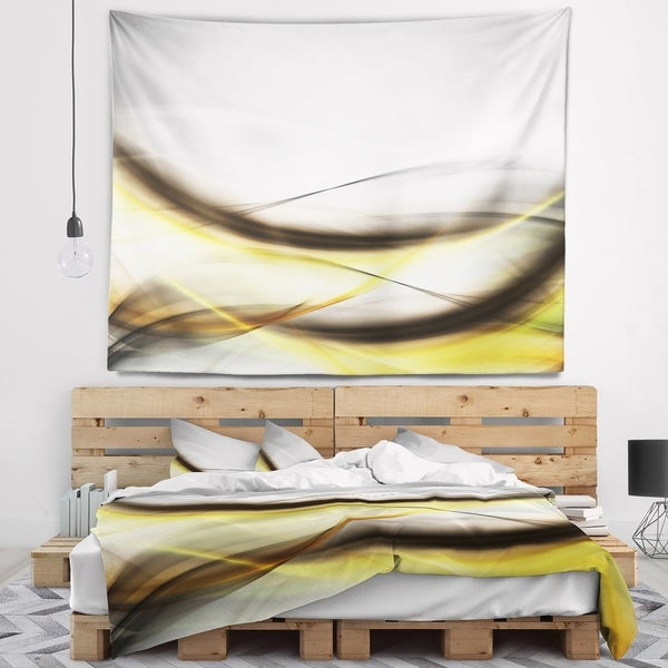 Designart 'Abstract Golden Waves' Abstract Wall Tapestry