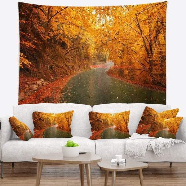 Designart 'Autumn Light Trails on Road' Landscape Photography Wall Tapestry
