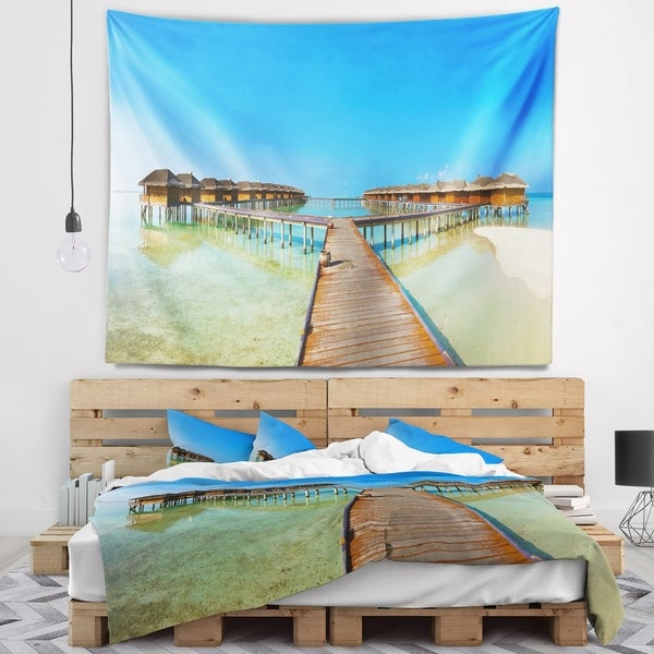Designart 'Bungalows in Maldives Island' Landscape Photography Wall Tapestry