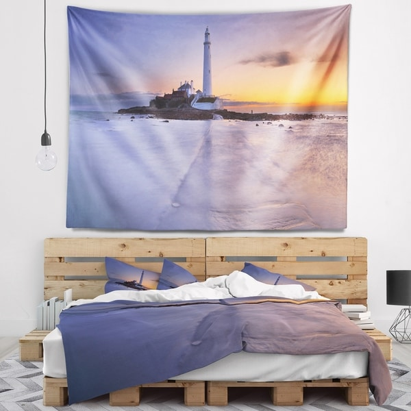 Designart 'Sunrise Over St. Mary s Lighthouse' Modern Seascape Wall Tapestry