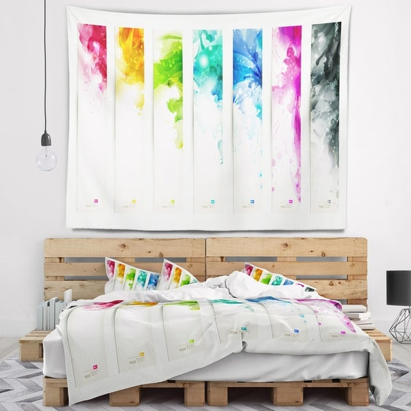 Designart 'Colorful Headers with Blots' Abstract Wall Tapestry