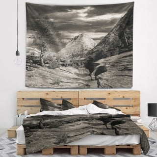 Designart 'Layers of Red Rock Black and White' Landscape Wall Tapestry
