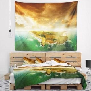 Designart 'Great Ocean Road Australia Green' Modern Seascape Wall Tapestry