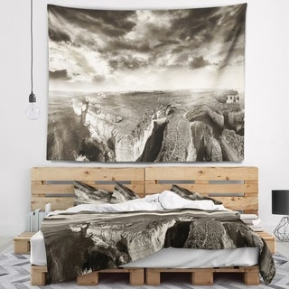 Designart 'Aerial View of Ocean Road Black' Seascape Wall Tapestry